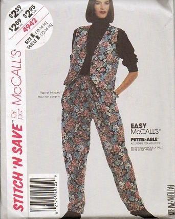 McCalls Uncut Pattern 4942 Misses Szs 12 14 16 Vest and Pants