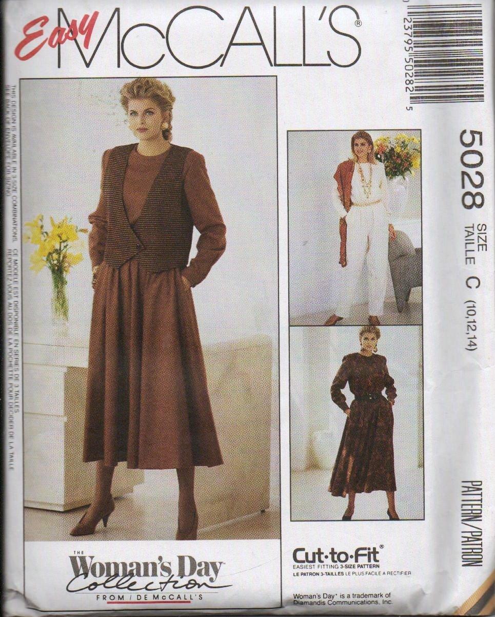 McCalls Uncut Pattern 5028 Vest Jumpsuit Dress Misses Sizes 8 10 12