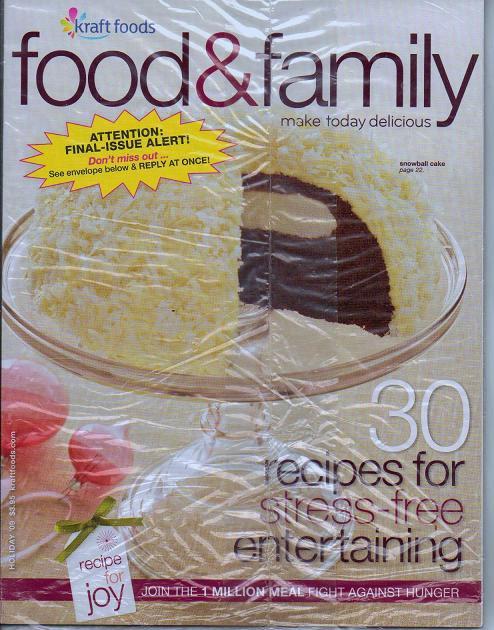 Unread Kraft Food and Family Magazine Holiday 2009 Sealed
