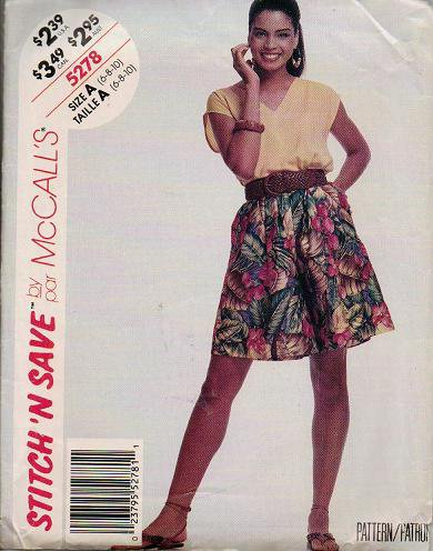 McCalls Pattern 5278 - Uncut - Top and Culottes Sizes 6 8 10