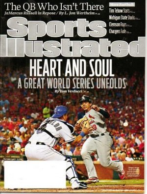 Sports Illustrated Mag - Unread - October 31 2011 - Texas Rangers Torrealba - Cardinals Jon Jay