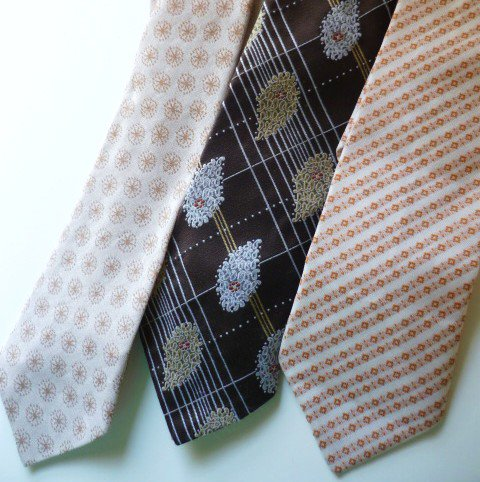 Three Neck Ties Vintage 1970s - Polyester Funky - Brown and Tan