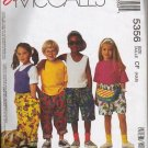 McCalls Pattern 5356 Childs TShirt Tank Top Pants Shorts Headband Bag
