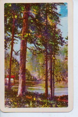 Vintage Playing Card Cottage in Woods Single Card Trade Swap