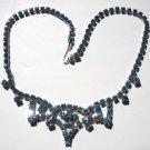 Vintage Blue Rhinestone Necklace Choker Princess Tiara Design Bridesmaid Flower Girl