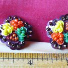 Vintage Copacabana Earrings Multi Color Beaded Clip On Earrings