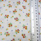 Petite Red Orange Flowers on Cream Material Fabric 31 x 45 inches