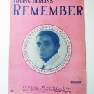 Remember By Irving Berlin 1925 Sheetmusic