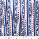 Red White Blue Flowers Stripe Pattern Fabric Material 44 x 18 Inches Remnant
