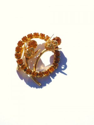 Vintage Circle of Faux Citrine with Flowers Pin Brooch