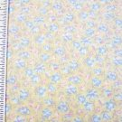 Petite Blue and Pink Flowers on Yellow Fabric Material 44 x 58 inches Remnant