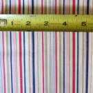Red White Denim Blue Stripe Material Fabric 23 x 44 Inches