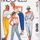 McCalls Pattern 9018 Misses Sz 8 Cropped Leg Pants