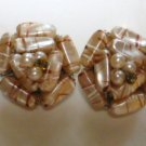 Vintage Pink and Butterscotch Swirl Clip On Earrings Marked Hong Kong