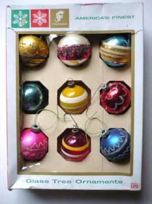 9 Vintage Glass Ball Christmas Ornaments Franke Shiny Brite and Others