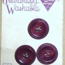 Le Chic Buttons Three on Card 7/8 Inch Mauve 10c Vintage