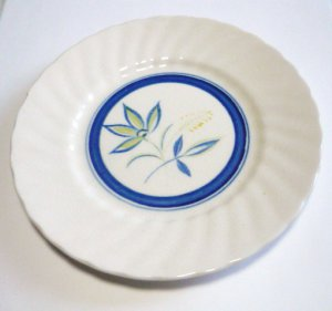 4 Terrastone Blue Swirl Pattern Bread Dishes Marked Japan Handpainted Vintage