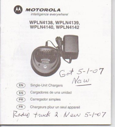 Motorola Single Unit Chargers Instructions wpln series
