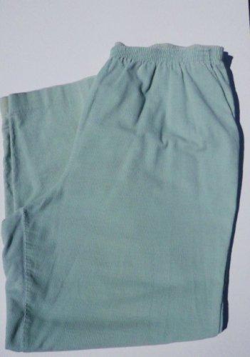 Alfred Dunner Corduroy Pants w/ Pockets Elastic Waist Sz 18 Light Green