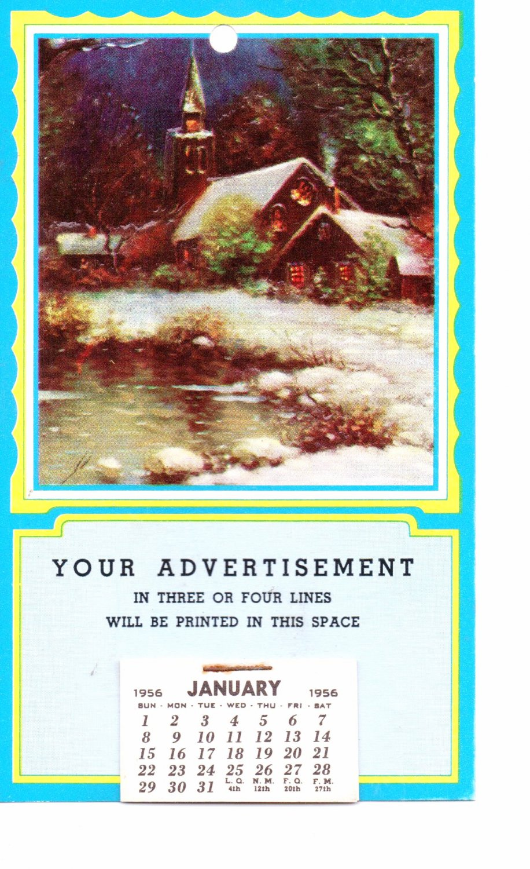 Salesman Calendar Sample Vintage 1956 - Holiday Winter Scene