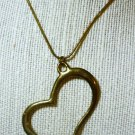 Abstract Gold Tone Heart on 18 Inch Neckchain