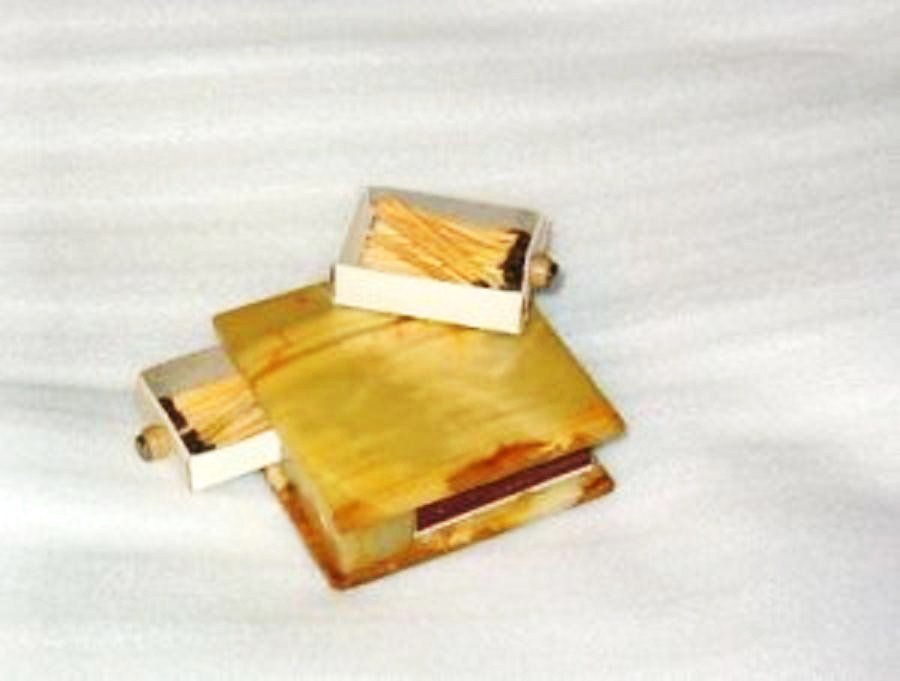 Marble Dual Matchsafe Matches Matchbox Holder Cover Vintage Tobacciana vgc