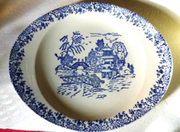 Vintage Blue on White Serving Bowl or Dish - Vegetable Dish