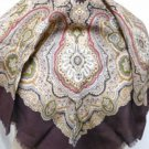 Collectif Paisley Wool Fringe Edged Square Scarf - Vintage Japan - Brown/Olive/Cream/Red