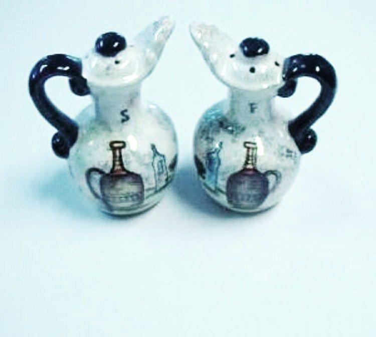Oil and Vinegar Cruet Salt and Pepper Shakers Vintage Numbered and Hand Painted