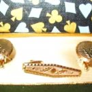 Cufflinks Cuff Links and Tie Clasp Set ~ Gold Tone - New in Box