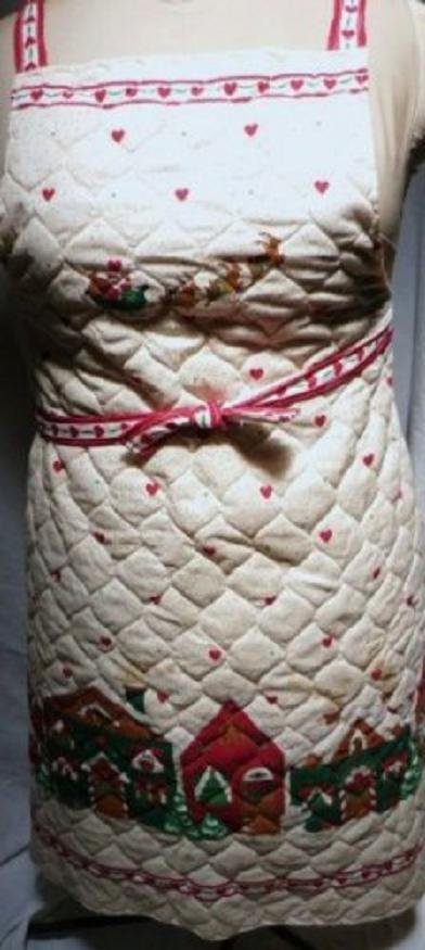 Holiday Santa and Village Print Quilted Bib Apron Fits Sz Small - XLarge As New