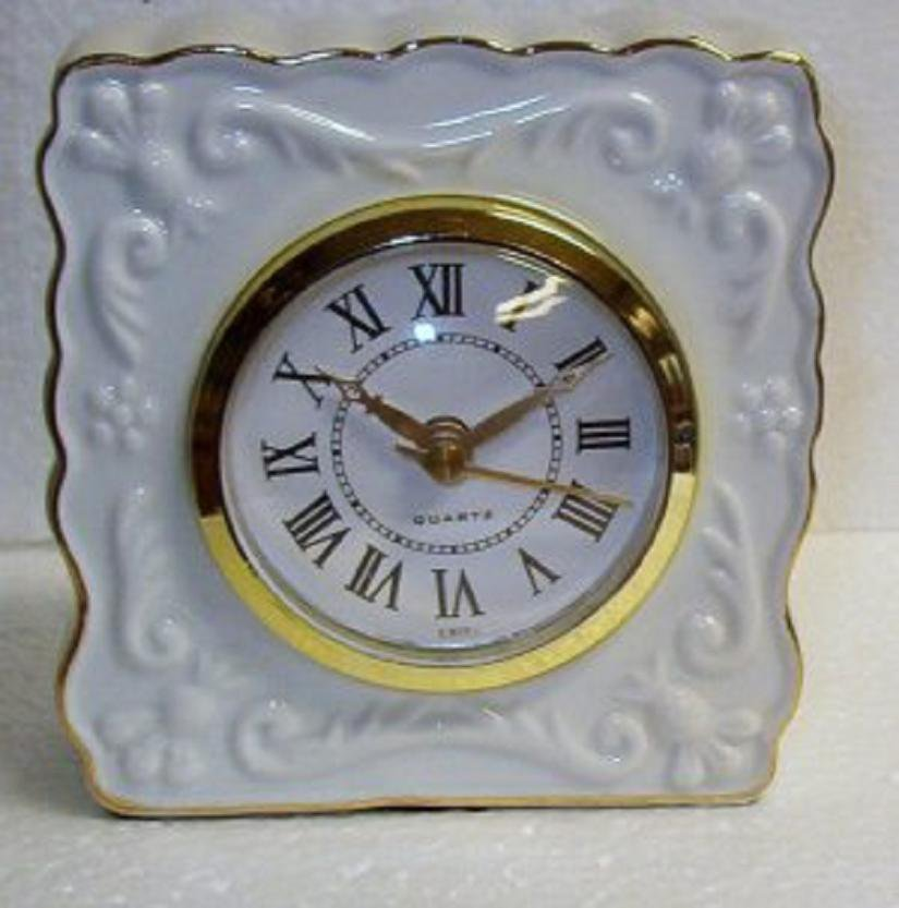 White Porcelain Quartz Mantel Clock with Gold Trim - New in Box