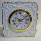 White Porcelain Quartz Mantel Clock with Gold Trim - New in Box