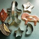 Lot of 7 Vintage Metal Holiday Cookie Cutters Incl Copper and Handmade