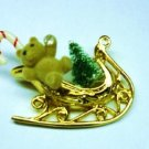Holiday Bear in Sleigh Pin Brooch Lk New with Jewel Tree and Candy Cane