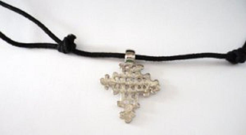 Silver Tone Cross on 32 Inch Adjustable Rope Necklace
