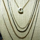 Lot of Five Fashion Necklaces Various Lengths, Gold Tone n Silver Tone