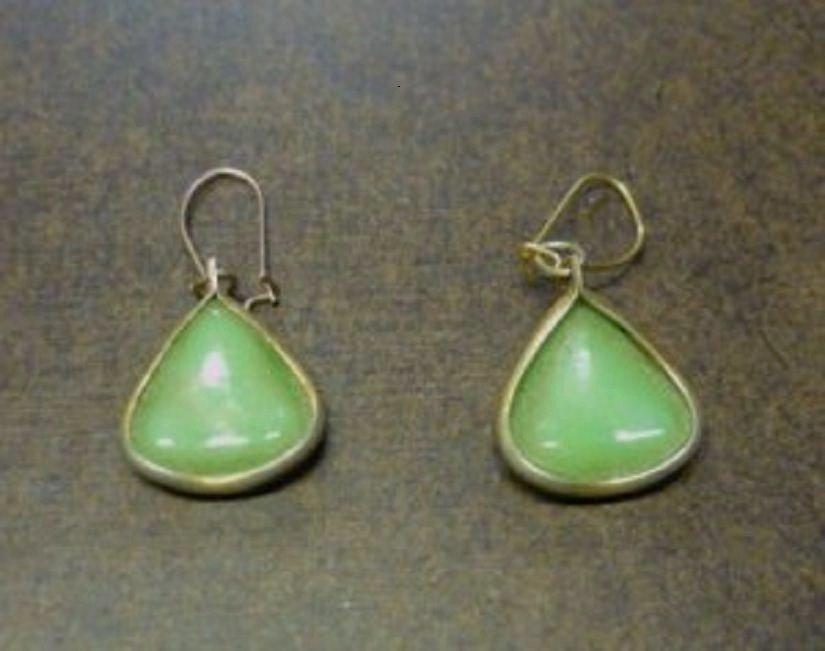 Vintage Poured Light Green Glass or Bakelite Earrings