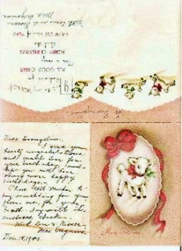 Christmas Card w/Lamb Personal Notation Vintage 1943
