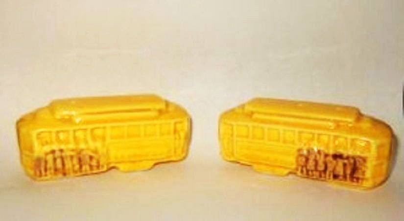 Trolley Car Salt and Pepper Shakers - Color is Yellow ~ Very Nice - Older