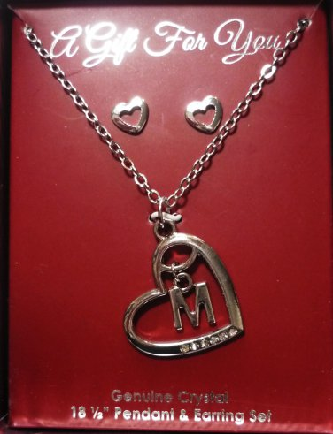 Genuine Crystal 18.5 inch Necklace Heart and Initial M Pendant and Earring Set