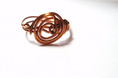 Handcrafted Copper Wire Spiral Wrapped Ring Size 9 Flower Abstract