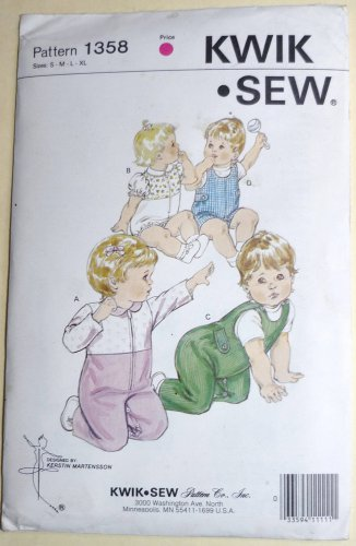 Kwik Sew Pattern 1358 UNCUT Baby Coveralls Rompers Sizes 0 to 18