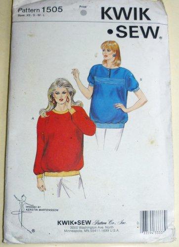 Kwik Sew Uncut Pattern 1505 Maternity Top Long/Short Sleeve