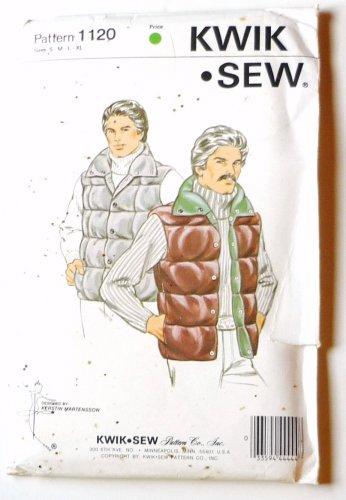 Kwik Sew Pattern 1120 Mens Quilted Vest UNCUT Szs S-xl