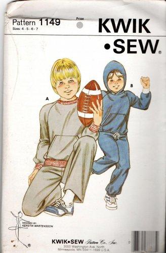 Kwik Sew Boys Jogging Suit Pattern 1149 Sizes 4-7 Vintage