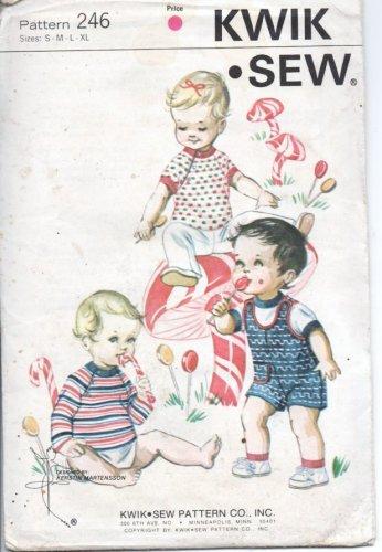 Vintage Kwik Sew Pattern 246 Infants Playsuit and T Shirts S, M, L, XL Sealed