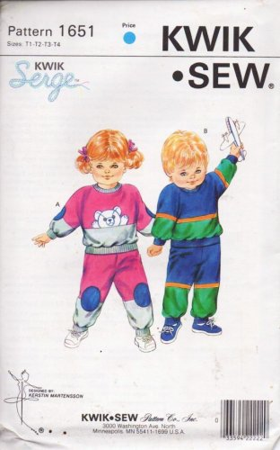 1987 Kwik Sew Pattern 1651 Toddler Jogging Suit 1 2 3 4 New Uncut Sealed