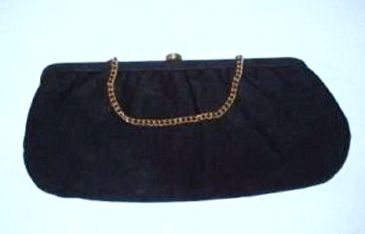 Black Silk Clutch Evening Bag Vintage 1950s Very Nice Condition