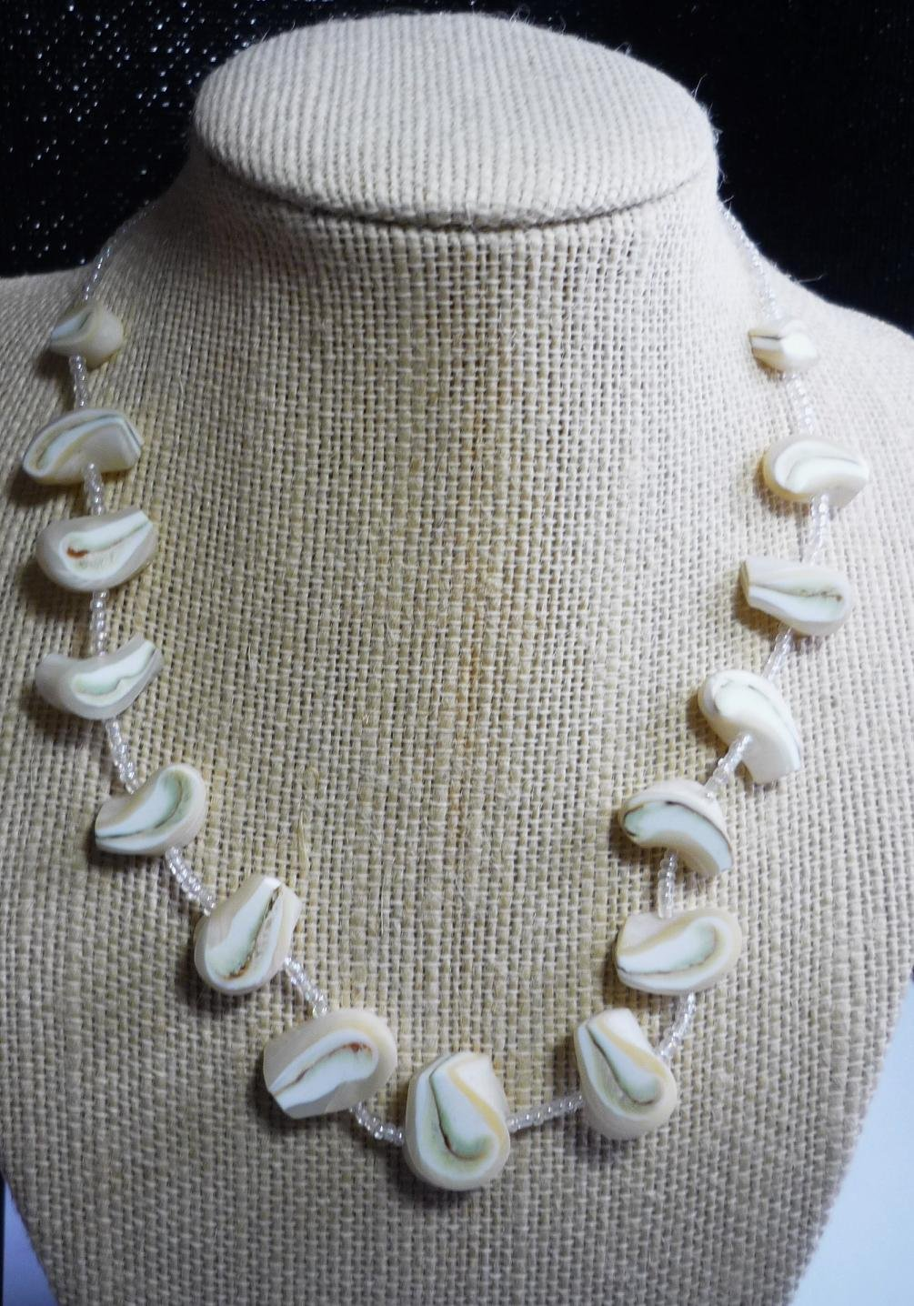 Large Pasta Shell Look and Small Bead 16 inch Necklace 1970's Estate Find